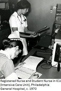 Enfermera y estudiante de enfermeria en una UCI, 1970